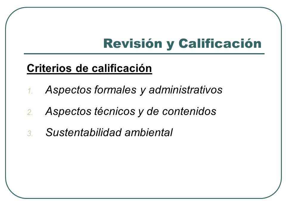 Revisión y Calificación Criterios de calificación Cont.