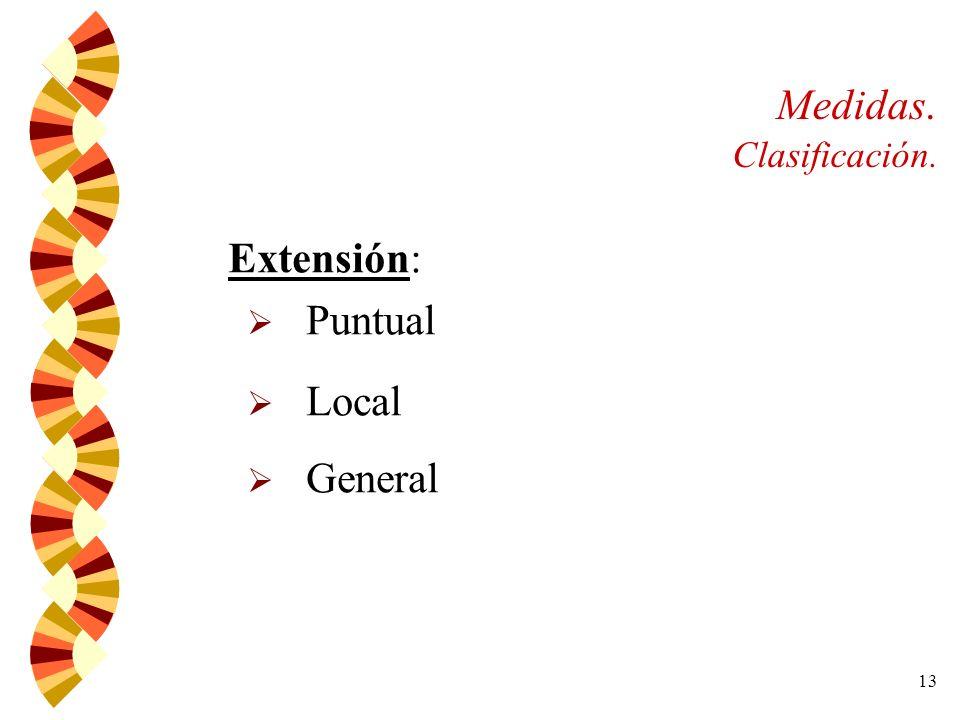 13 Medidas. Clasificación. Extensión: Puntual Local General