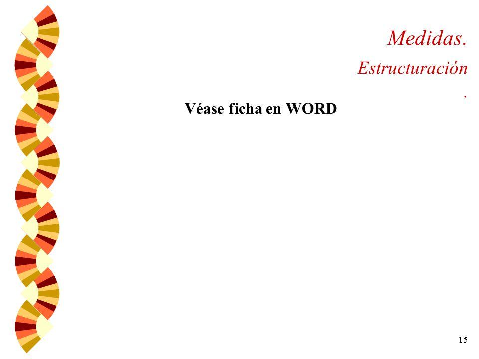 15 Medidas. Estructuración. Véase ficha en WORD