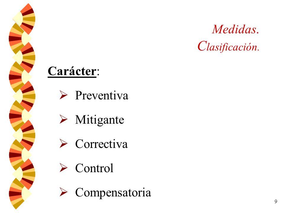 10 Medidas. Clasificación. Naturaleza: Única Principal Complementaria Alternativa Obligatoria