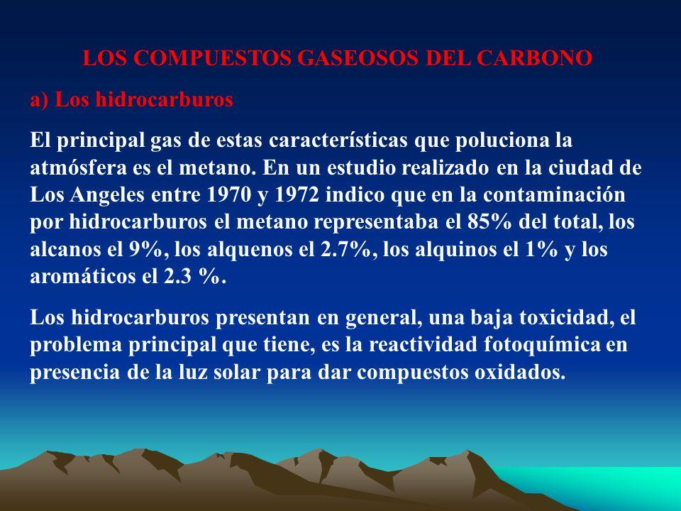 LOS COMPUESTOS GASEOSOS DEL CARBONO a) Los hidrocarburos El principal gas de estas características que poluciona la atmósfera es el metano. En un estu