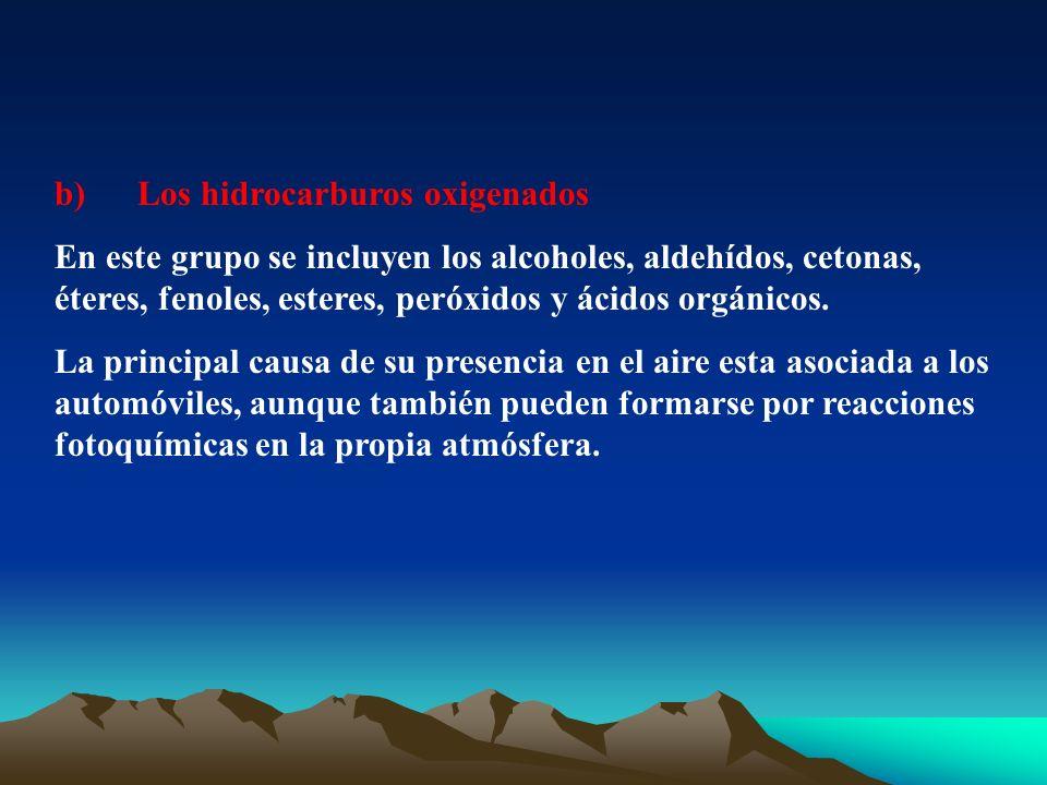 b) Los hidrocarburos oxigenados En este grupo se incluyen los alcoholes, aldehídos, cetonas, éteres, fenoles, esteres, peróxidos y ácidos orgánicos. L