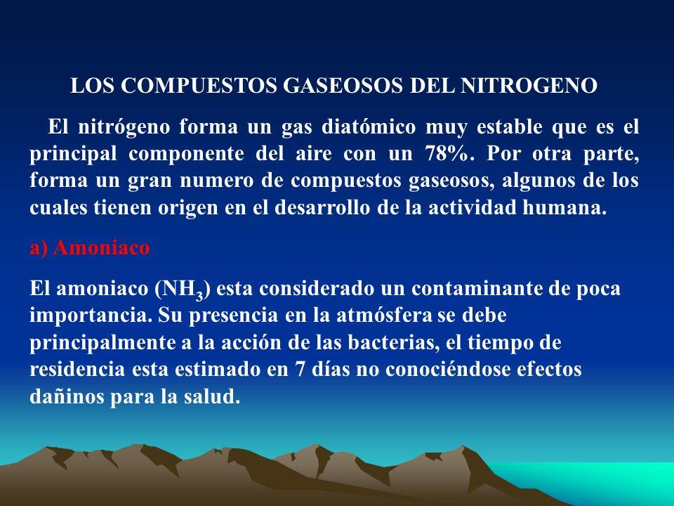 LOS COMPUESTOS GASEOSOS DEL NITROGENO El nitrógeno forma un gas diatómico muy estable que es el principal componente del aire con un 78%. Por otra par