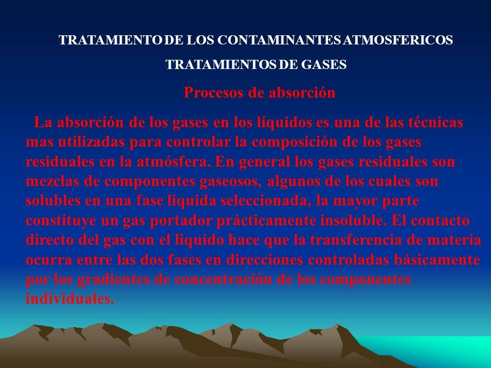 TRATAMIENTO DE LOS CONTAMINANTES ATMOSFERICOS TRATAMIENTOS DE GASES Procesos de absorción La absorción de los gases en los líquidos es una de las técn