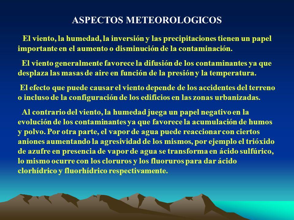 ASPECTOS METEOROLOGICOS El viento, la humedad, la inversión y las precipitaciones tienen un papel importante en el aumento o disminución de la contami