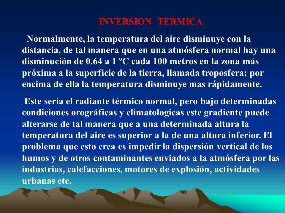 INVERSION TERMICA Normalmente, la temperatura del aire disminuye con la distancia, de tal manera que en una atmósfera normal hay una disminución de 0.