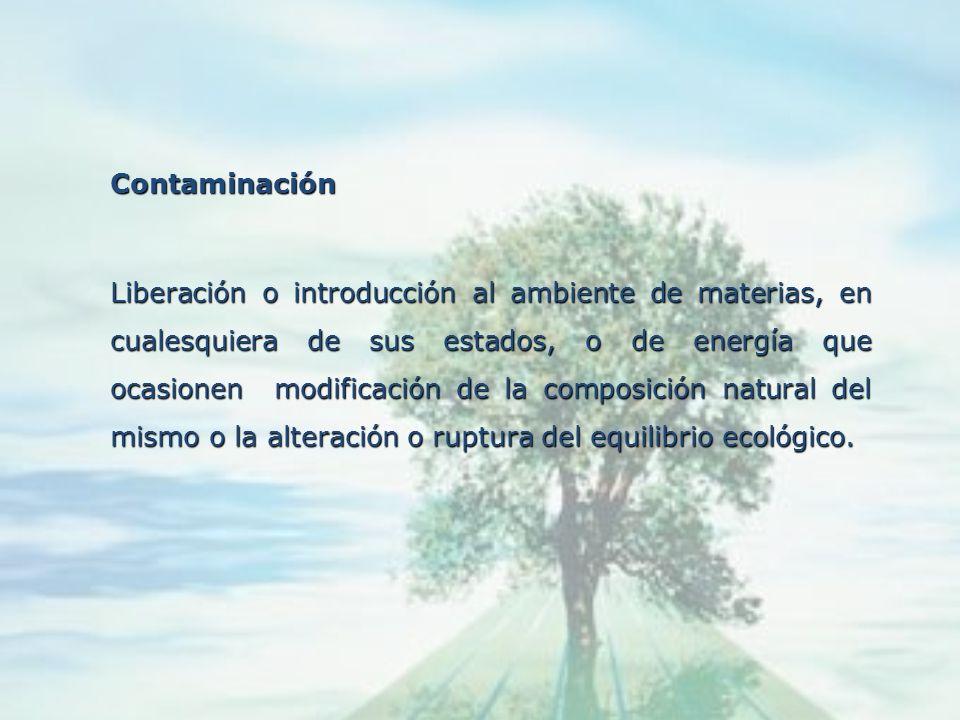 Calidad Ambiental Características del ambiente, determinantes del nivel o grado de conservación de la pureza del aire, agua, suelo, las costas, el cli