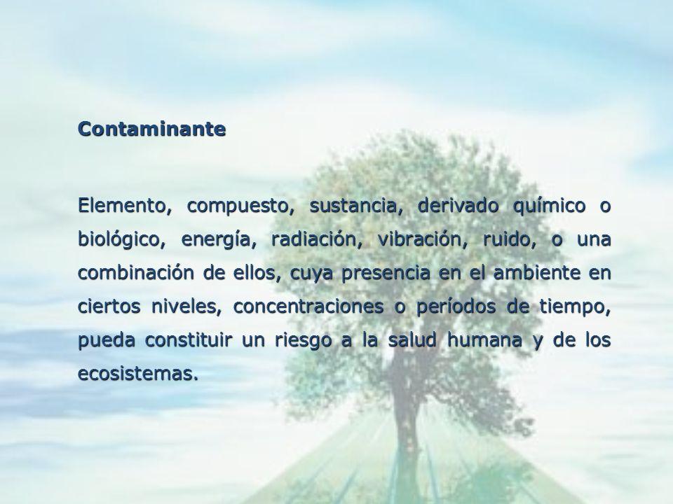 Contaminación Liberación o introducción al ambiente de materias, en cualesquiera de sus estados, o de energía que ocasionen modificación de la composi