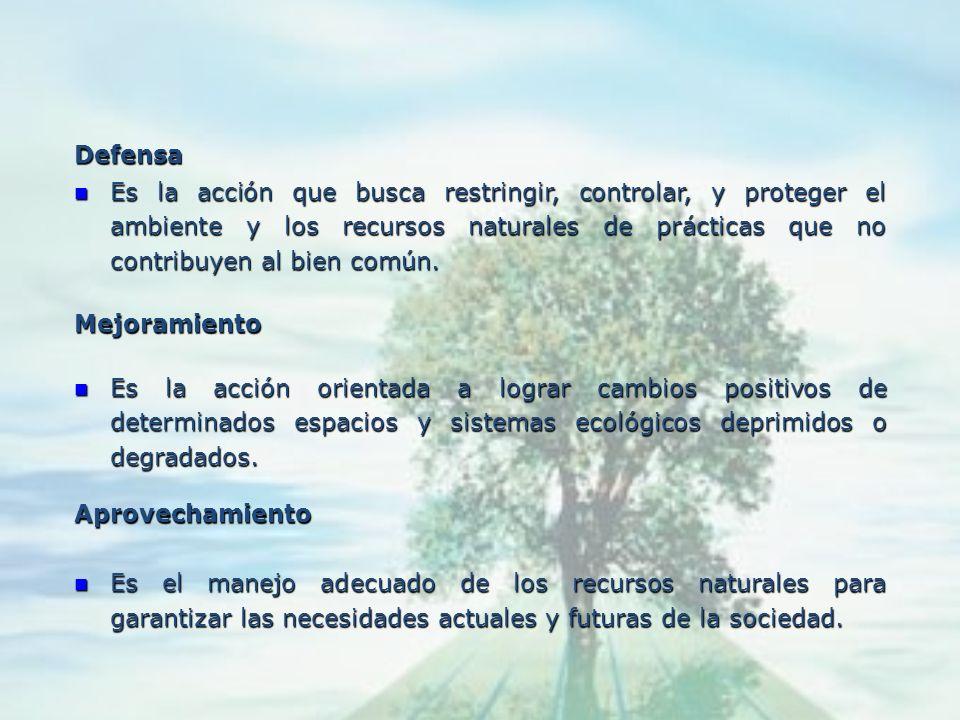 Conservación Significa la utilización racional de los recursos naturales, respetando los procesos ecológicos que rigen su permanencia y valoración equ