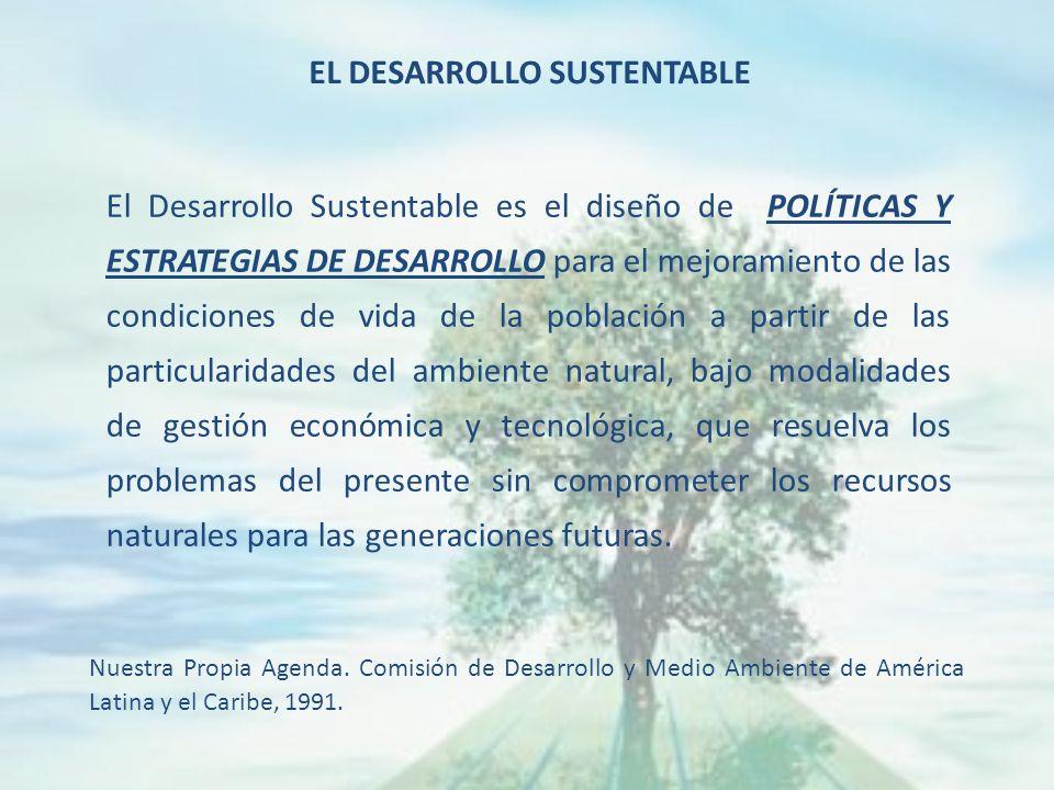 El Desarrollo Sustentable es el diseño de POLÍTICAS Y ESTRATEGIAS DE DESARROLLO para el mejoramiento de las condiciones de vida de la población a partir de las particularidades del ambiente natural, bajo modalidades de gestión económica y tecnológica, que resuelva los problemas del presente sin comprometer los recursos naturales para las generaciones futuras.