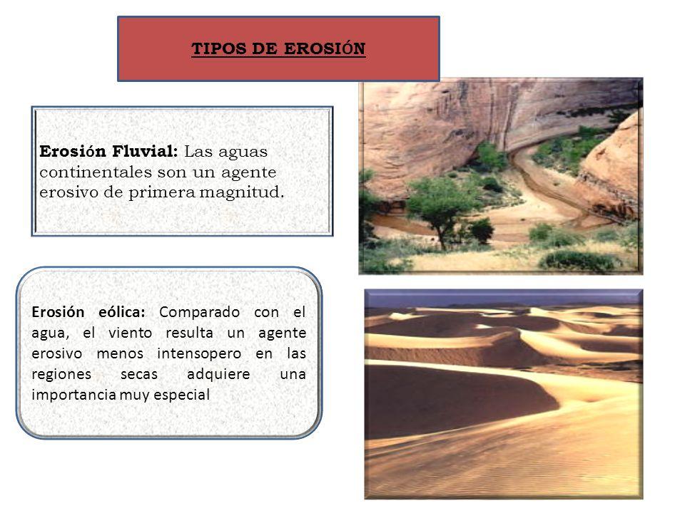 Erosi ó n Fluvial: Las aguas continentales son un agente erosivo de primera magnitud. Erosión eólica: Comparado con el agua, el viento resulta un agen