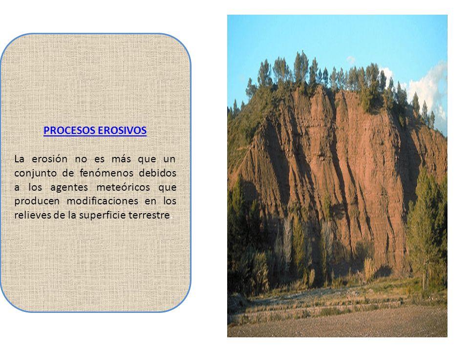 PROCESOS EROSIVOS La erosión no es más que un conjunto de fenómenos debidos a los agentes meteóricos que producen modificaciones en los relieves de la