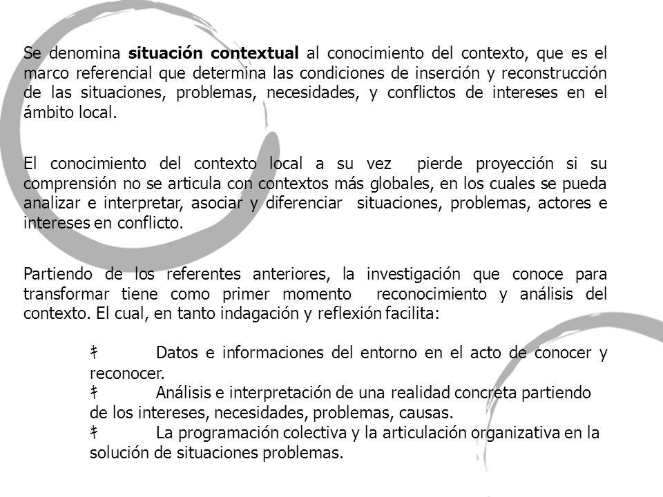 Se denomina situación contextual al conocimiento del contexto, que es el marco referencial que determina las condiciones de inserción y reconstrucción