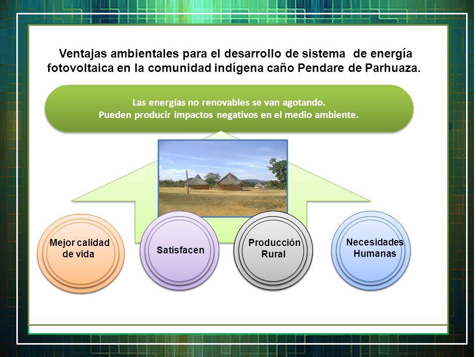 Importancia de generación y desarrollo de energía fotovoltaica en la comunidad indígena de Caño Pendare de Parhuaza. Mejorar Salud Contribuir Activida