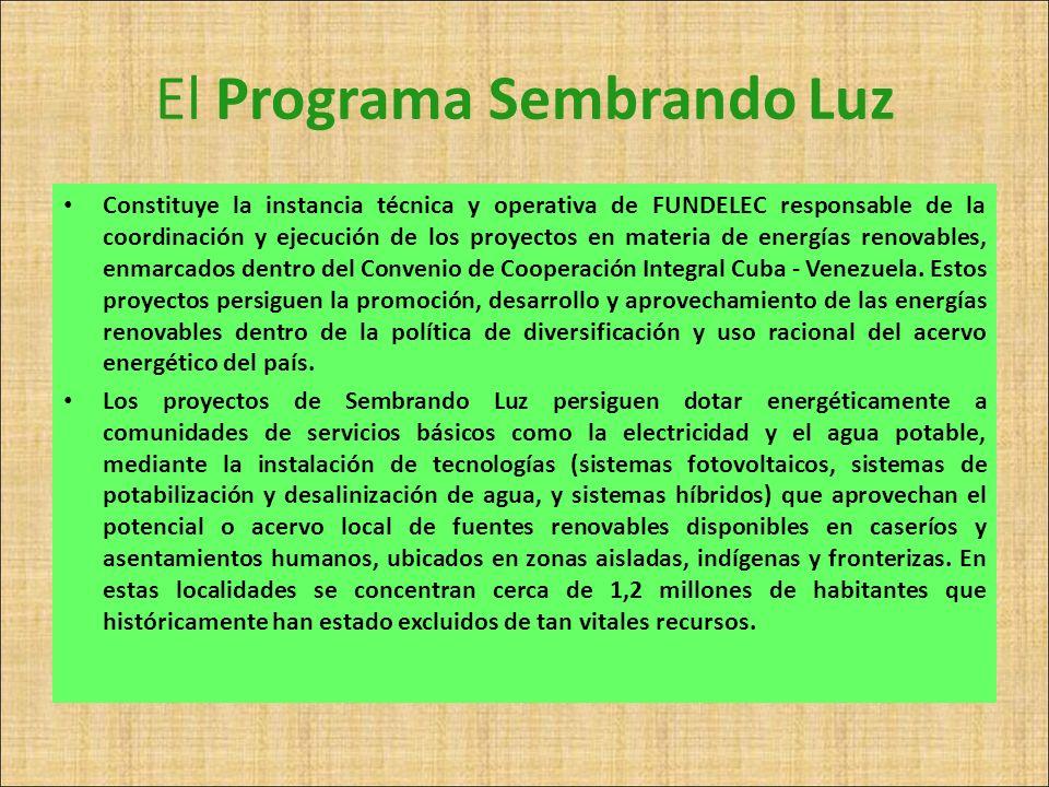 El Programa Sembrando Luz Constituye la instancia técnica y operativa de FUNDELEC responsable de la coordinación y ejecución de los proyectos en mater
