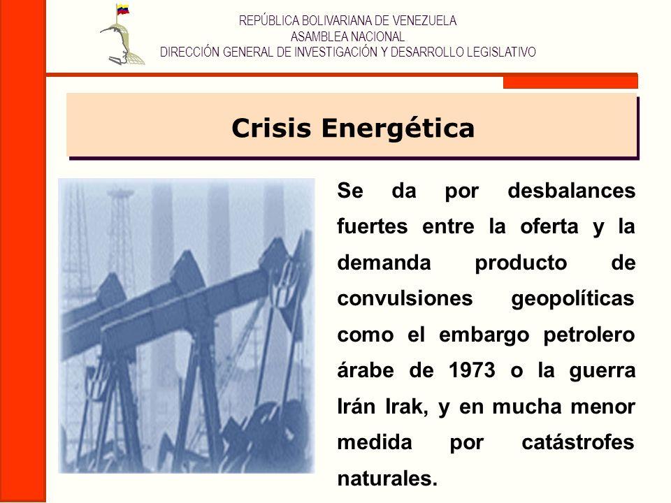 REPÚBLICA BOLIVARIANA DE VENEZUELA ASAMBLEA NACIONAL DIRECCIÓN GENERAL DE INVESTIGACIÓN Y DESARROLLO LEGISLATIVO Transición Energética Se da por razones estructurales (cambio del combustible base por agotamiento del petróleo o descubrimiento de uno más eficiente), que a diferencia de las crisis energéticas que una vez solucionado el problema geopolítico el acontecer se normaliza, en transición la situación tiende a agravarse y a retroalimentar toda la problemática mundial.