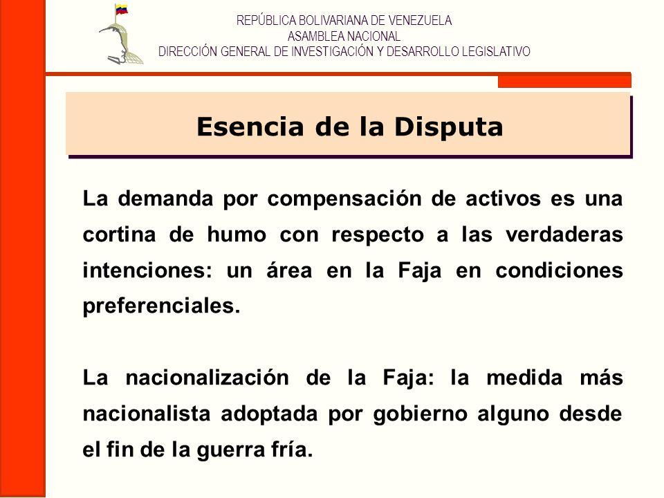 REPÚBLICA BOLIVARIANA DE VENEZUELA ASAMBLEA NACIONAL DIRECCIÓN GENERAL DE INVESTIGACIÓN Y DESARROLLO LEGISLATIVO La demanda por compensación de activo