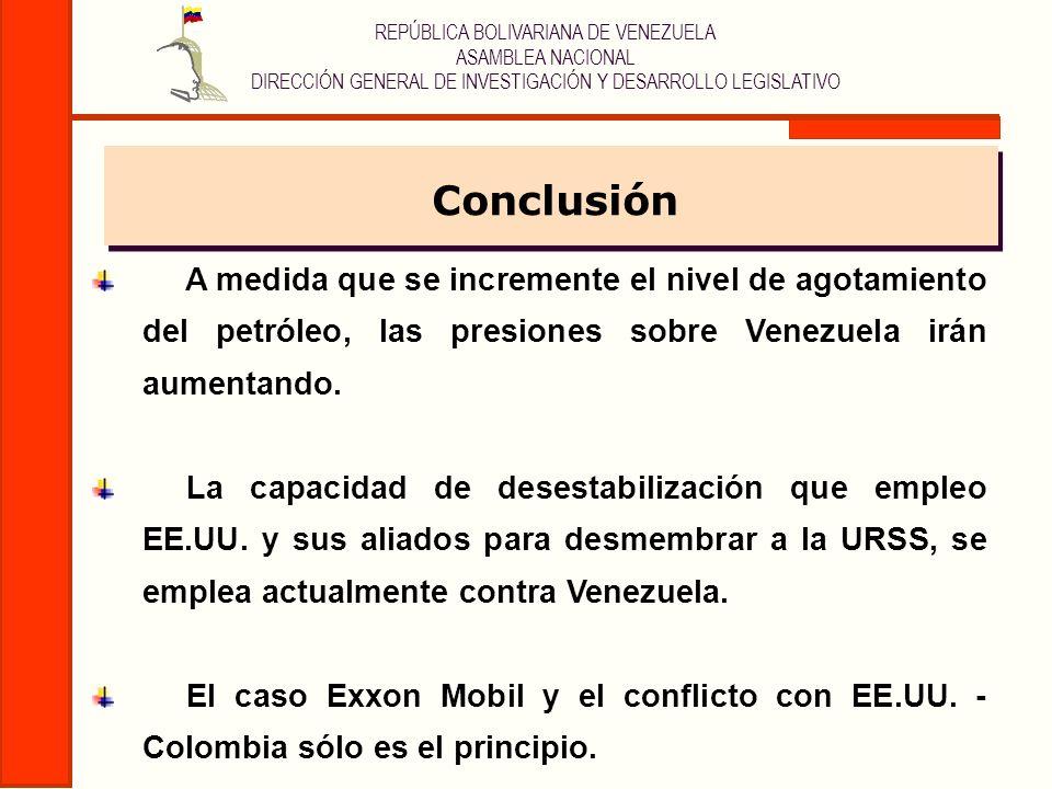 REPÚBLICA BOLIVARIANA DE VENEZUELA ASAMBLEA NACIONAL DIRECCIÓN GENERAL DE INVESTIGACIÓN Y DESARROLLO LEGISLATIVO A medida que se incremente el nivel d