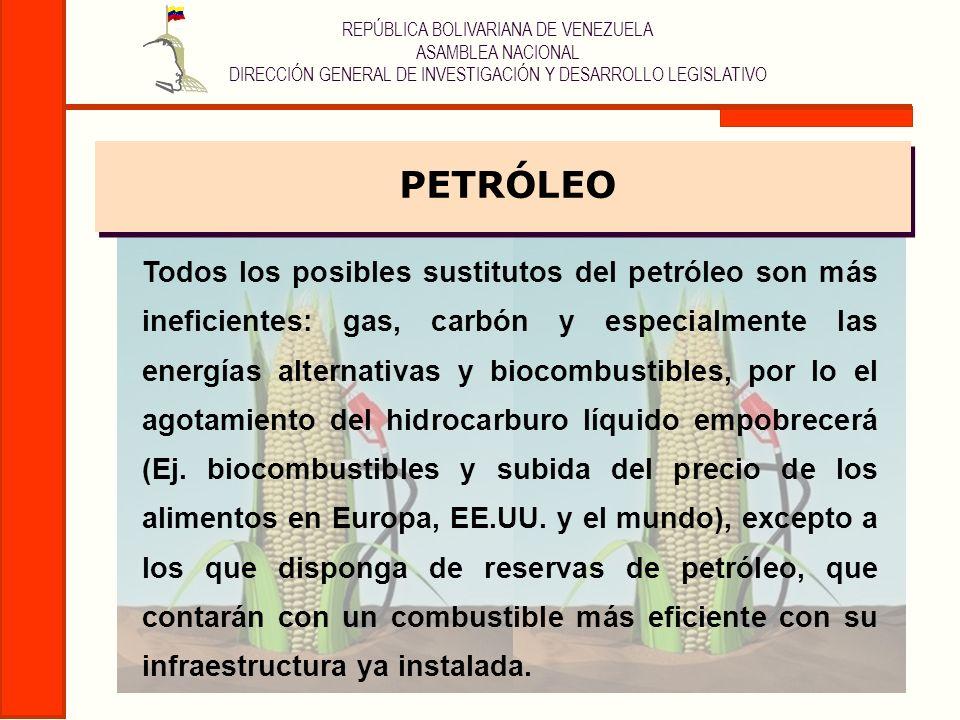 REPÚBLICA BOLIVARIANA DE VENEZUELA ASAMBLEA NACIONAL DIRECCIÓN GENERAL DE INVESTIGACIÓN Y DESARROLLO LEGISLATIVO Hechos Objetivos: Consumo de más de la mitad de las reservas mundiales de petróleo convencional La Agencia Internacional de la Energía determinó que entre el 2004 y el 2010 se habrán consumido más de la mitad de las reservas de petróleo convencional, lo que hace del agotamiento de los yacimientos del hidrocarburo líquido: La causa fundamental (estructural) de su alto precio, una tendencia irreversible, y del control de las reservas el principal objetivo geopolítico a escala planetaria.
