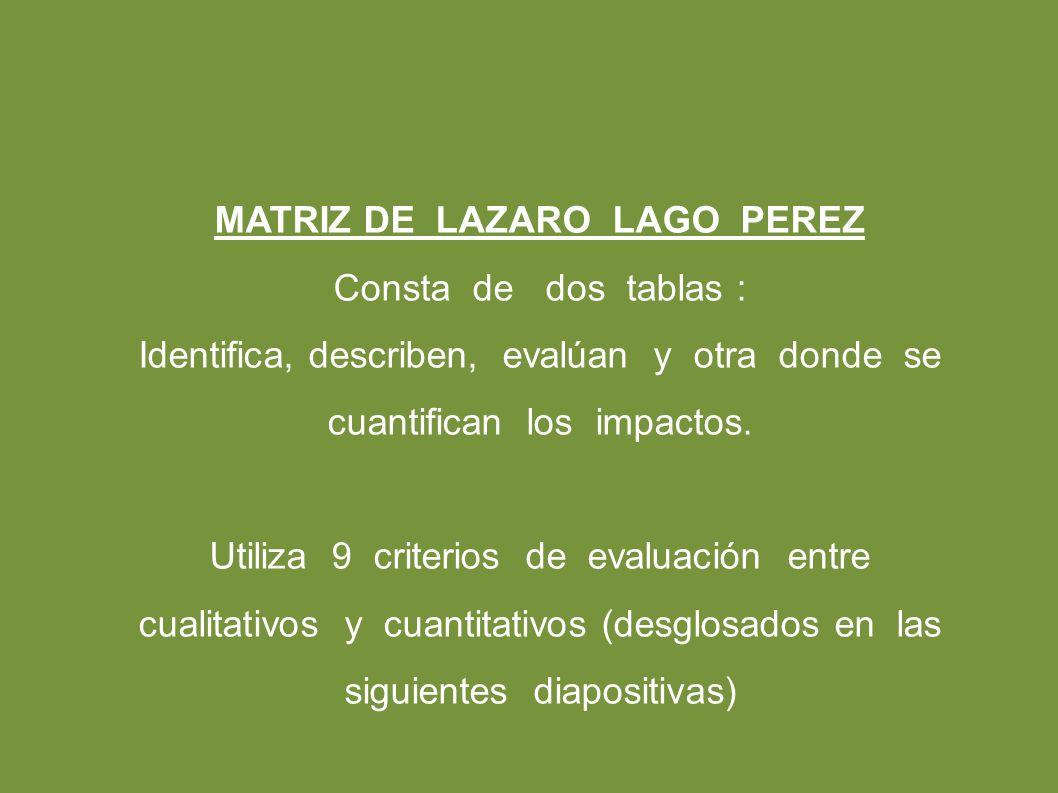 MATRIZ DE LAZARO LAGO PEREZ Consta de dos tablas : Identifica, describen, evalúan y otra donde se cuantifican los impactos.
