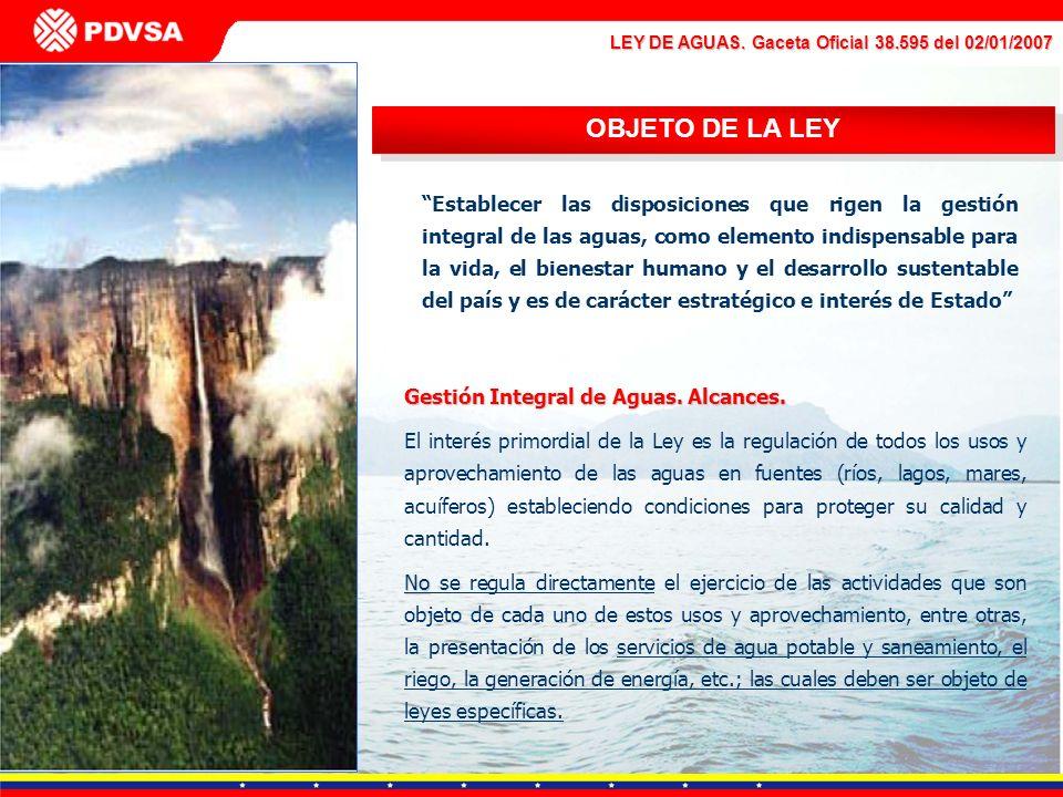 LEY DE AGUAS. Gaceta Oficial 38.595 del 02/01/2007 OBJETO DE LA LEY Establecer las disposiciones que rigen la gestión integral de las aguas, como elem