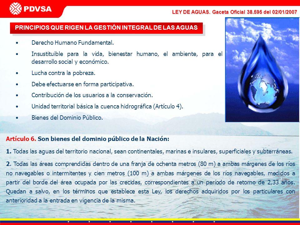 LEY DE AGUAS. Gaceta Oficial 38.595 del 02/01/2007 PRINCIPIOS QUE RIGEN LA GESTIÓN INTEGRAL DE LAS AGUAS Derecho Humano Fundamental. Insustituible par