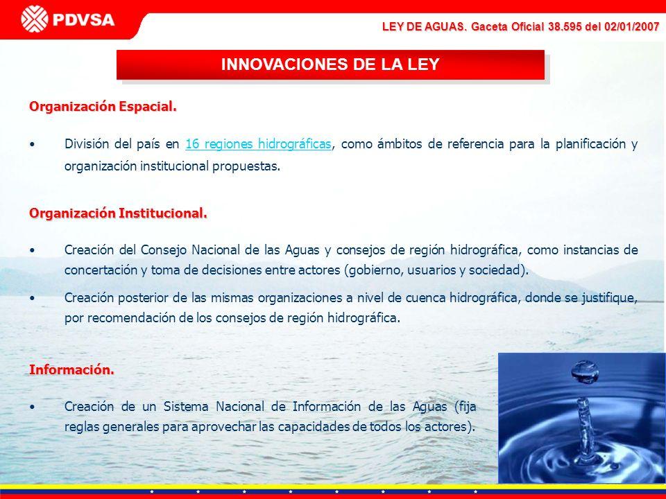 LEY DE AGUAS. Gaceta Oficial 38.595 del 02/01/2007 INNOVACIONES DE LA LEY Organización Espacial. División del país en 16 regiones hidrográficas, como
