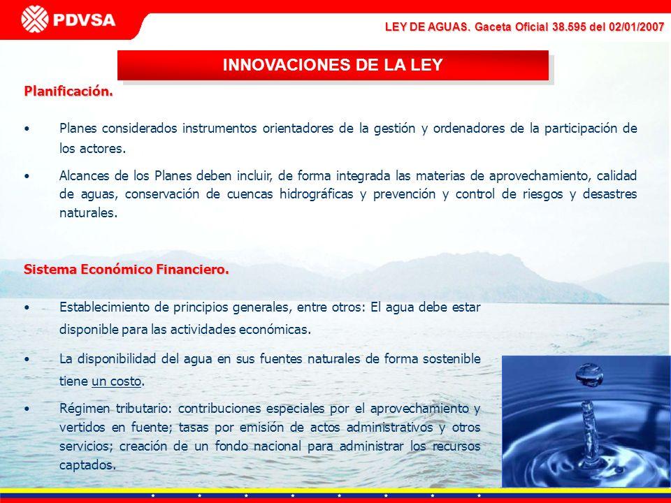 LEY DE AGUAS. Gaceta Oficial 38.595 del 02/01/2007 Planificación. Planes considerados instrumentos orientadores de la gestión y ordenadores de la part