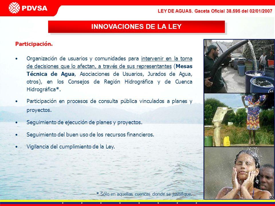 LEY DE AGUAS. Gaceta Oficial 38.595 del 02/01/2007 INNOVACIONES DE LA LEY Participación. Organización de usuarios y comunidades para intervenir en la
