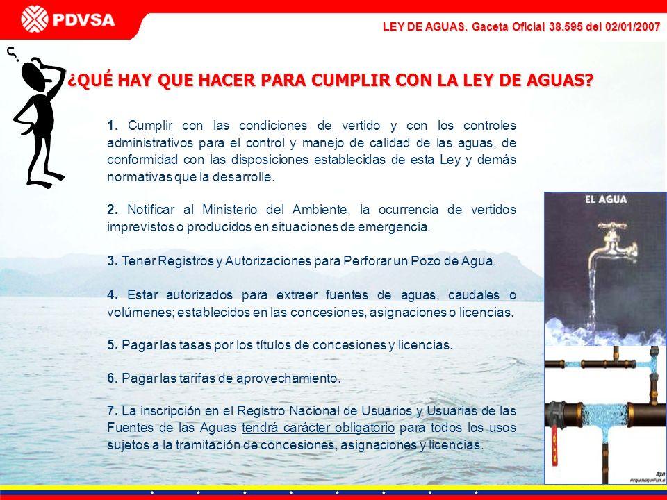 LEY DE AGUAS. Gaceta Oficial 38.595 del 02/01/2007 ¿QUÉ HAY QUE HACER PARA CUMPLIR CON LA LEY DE AGUAS? 1. Cumplir con las condiciones de vertido y co