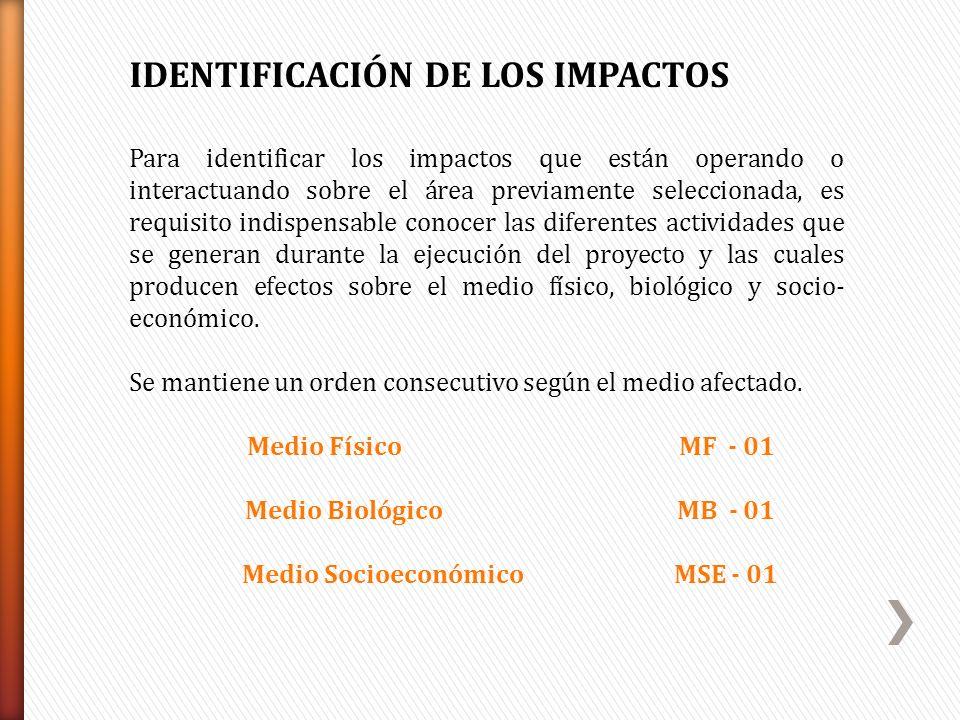 IDENTIFICACIÓN DE LOS IMPACTOS Para identificar los impactos que están operando o interactuando sobre el área previamente seleccionada, es requisito i