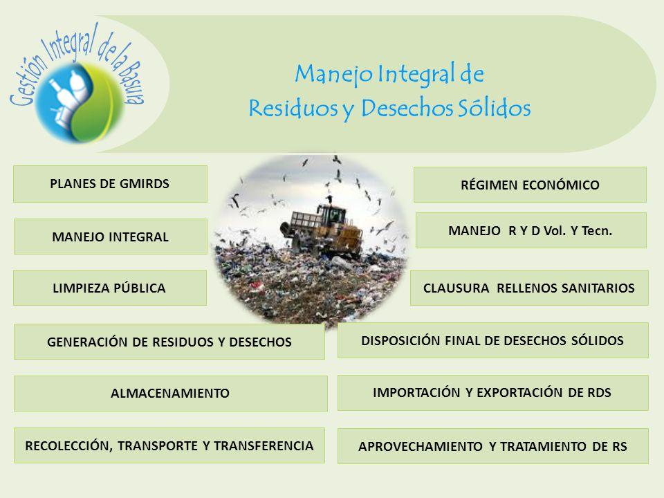 Manejo Integral de Residuos y Desechos Sólidos PLANES DE GMIRDS MANEJO INTEGRAL GENERACIÓN DE RESIDUOS Y DESECHOS LIMPIEZA PÚBLICA ALMACENAMIENTO RECO