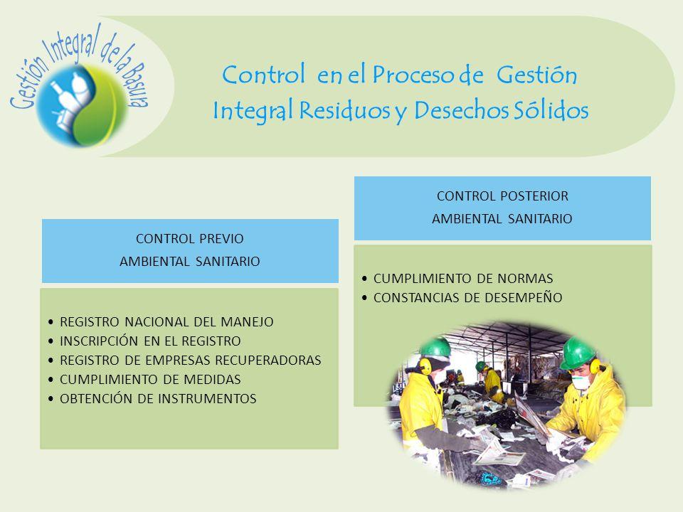 Control en el Proceso de Gestión Integral Residuos y Desechos Sólidos CONTROL PREVIO AMBIENTAL SANITARIO REGISTRO NACIONAL DEL MANEJO INSCRIPCIÓN EN E