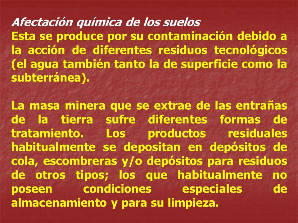 Afectación química de los suelos Esta se produce por su contaminación debido a la acción de diferentes residuos tecnológicos (el agua también tanto la