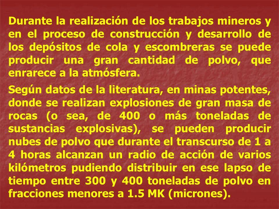 Durante la realización de los trabajos mineros y en el proceso de construcción y desarrollo de los depósitos de cola y escombreras se puede producir u