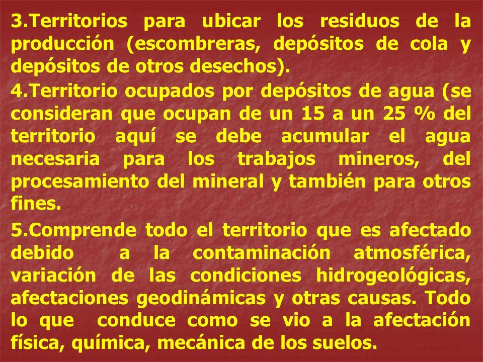 3.Territorios para ubicar los residuos de la producción (escombreras, depósitos de cola y depósitos de otros desechos). 4.Territorio ocupados por depó