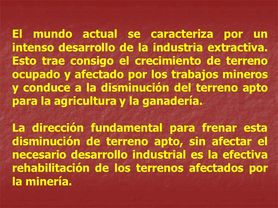 El mundo actual se caracteriza por un intenso desarrollo de la industria extractiva. Esto trae consigo el crecimiento de terreno ocupado y afectado po