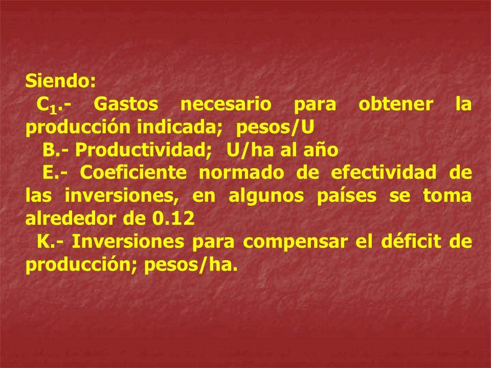 Siendo: C 1.- Gastos necesario para obtener la producción indicada; pesos/U B.- Productividad; U/ha al año E.- Coeficiente normado de efectividad de l