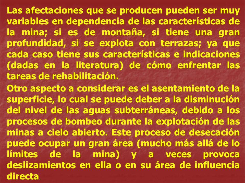 Las afectaciones que se producen pueden ser muy variables en dependencia de las características de la mina; si es de montaña, si tiene una gran profun