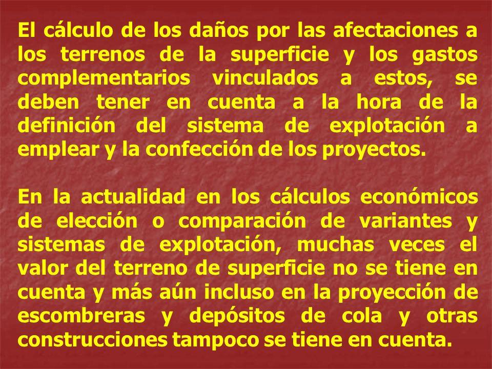 El cálculo de los daños por las afectaciones a los terrenos de la superficie y los gastos complementarios vinculados a estos, se deben tener en cuenta