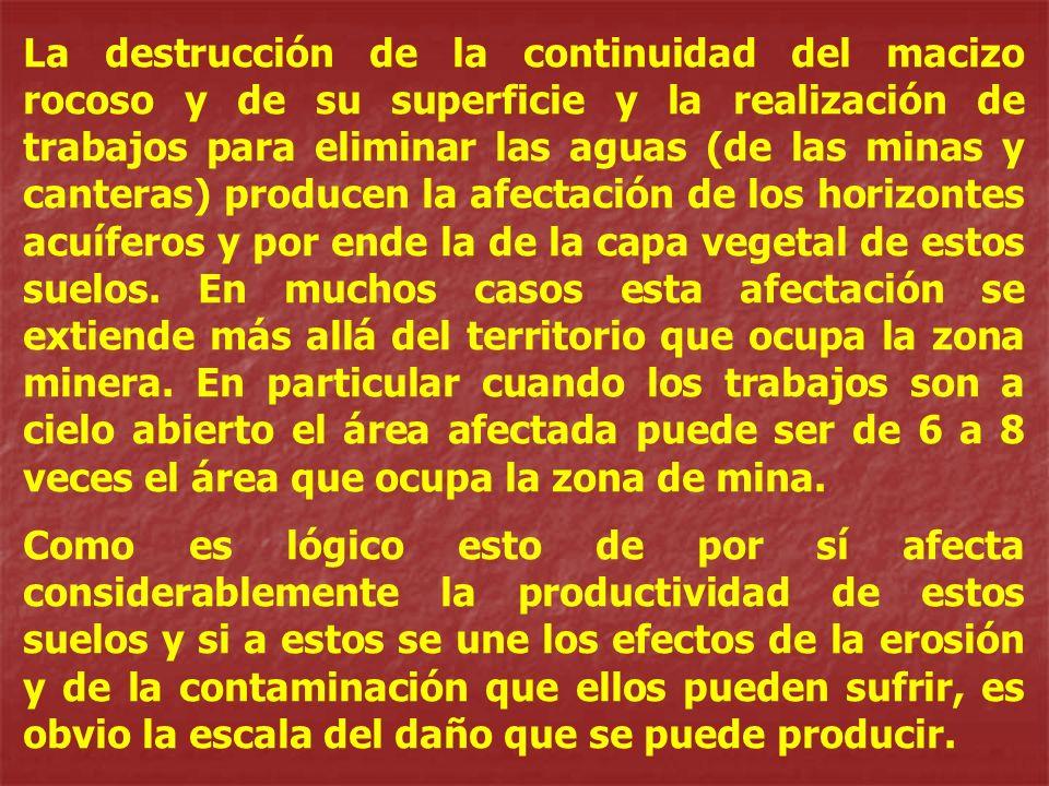 La destrucción de la continuidad del macizo rocoso y de su superficie y la realización de trabajos para eliminar las aguas (de las minas y canteras) p