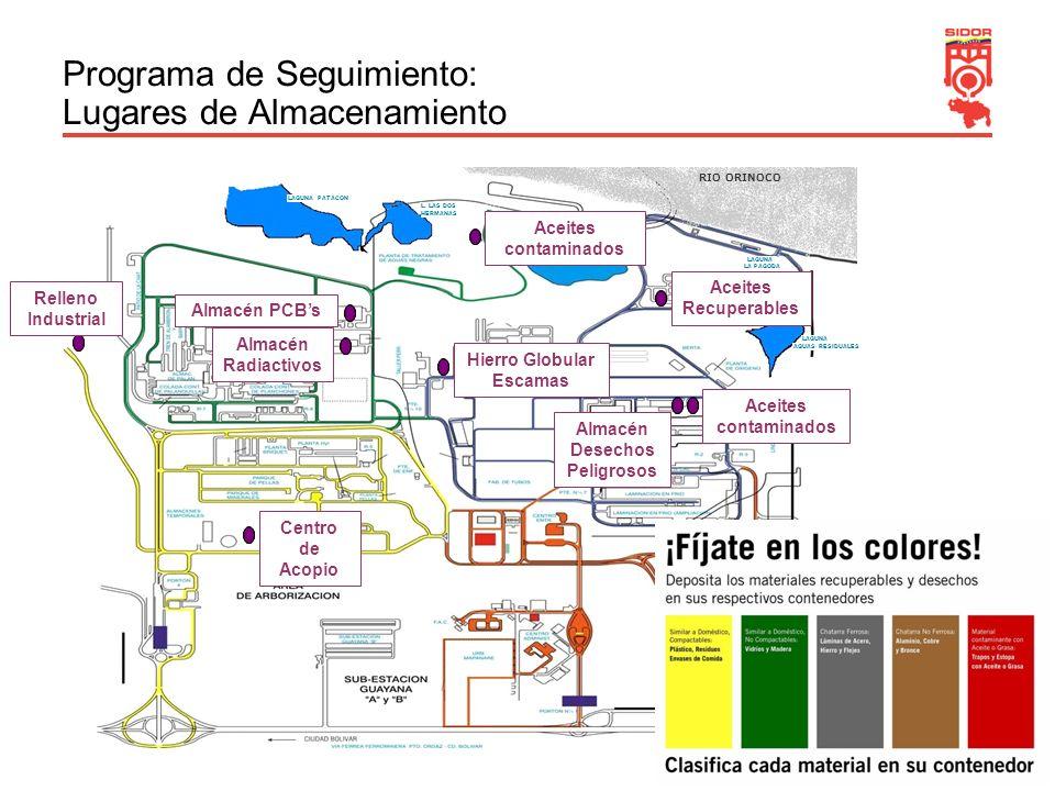 15 Programa de Seguimiento: Lugares de Almacenamiento LAGUNA LA PAGODA RIO ORINOCO LAGUNA AGUAS RESIDUALES LAGUNA LOS MANANTIALES L. LAS DOS HERMANAS