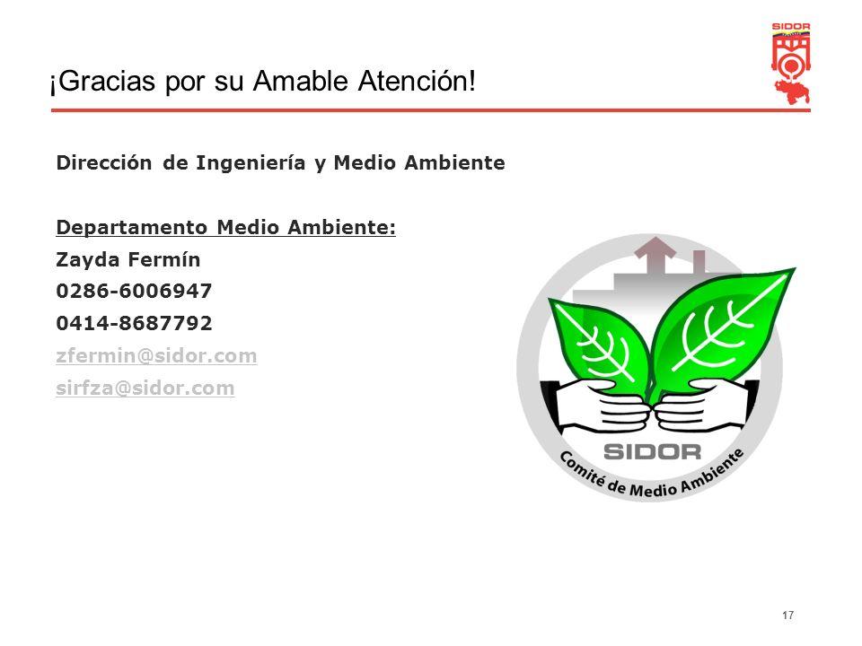 17 ¡Gracias por su Amable Atención! Dirección de Ingeniería y Medio Ambiente Departamento Medio Ambiente: Zayda Fermín 0286-6006947 0414-8687792 zferm