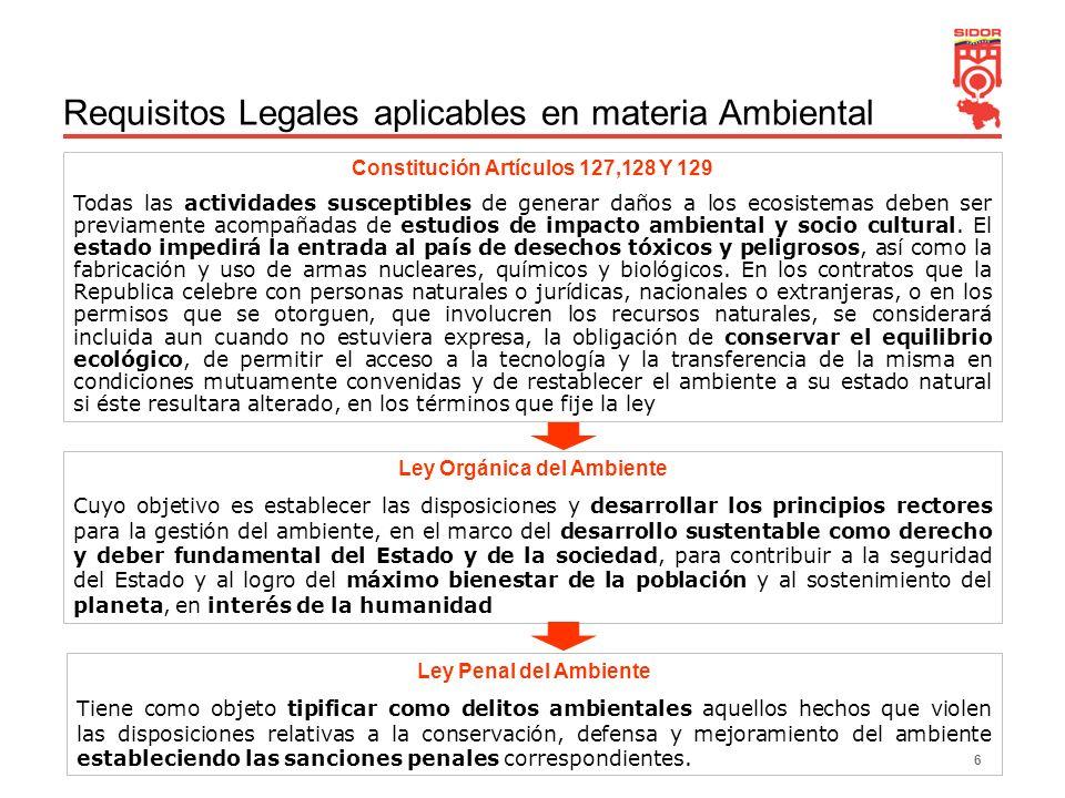 6 Requisitos Legales aplicables en materia Ambiental Constitución Artículos 127,128 Y 129 Todas las actividades susceptibles de generar daños a los ec