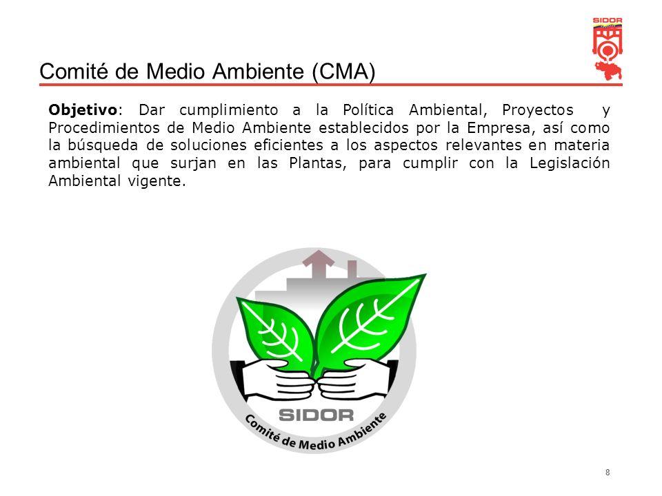 8 Comité de Medio Ambiente (CMA) Objetivo: Dar cumplimiento a la Política Ambiental, Proyectos y Procedimientos de Medio Ambiente establecidos por la