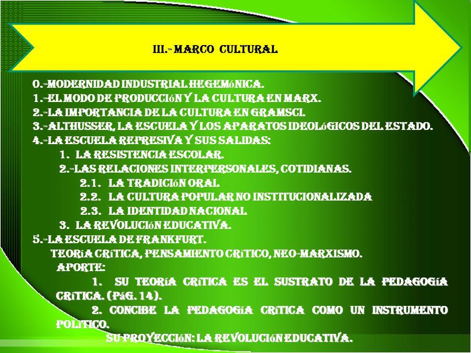 III.- MARCO CULTURAL 0.-modernidad industrial hegem ó nica.
