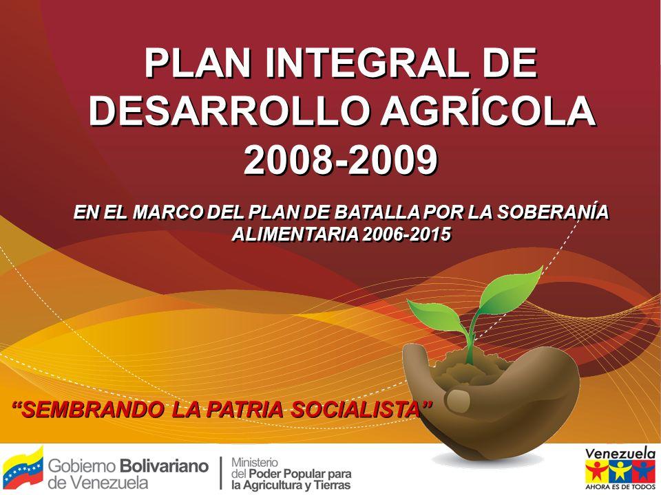 SEMBRANDO LA PATRIA SOCIALISTA 1 PLAN INTEGRAL DE DESARROLLO AGRÍCOLA 2008-2009 EN EL MARCO DEL PLAN DE BATALLA POR LA SOBERANÍA ALIMENTARIA 2006-2015