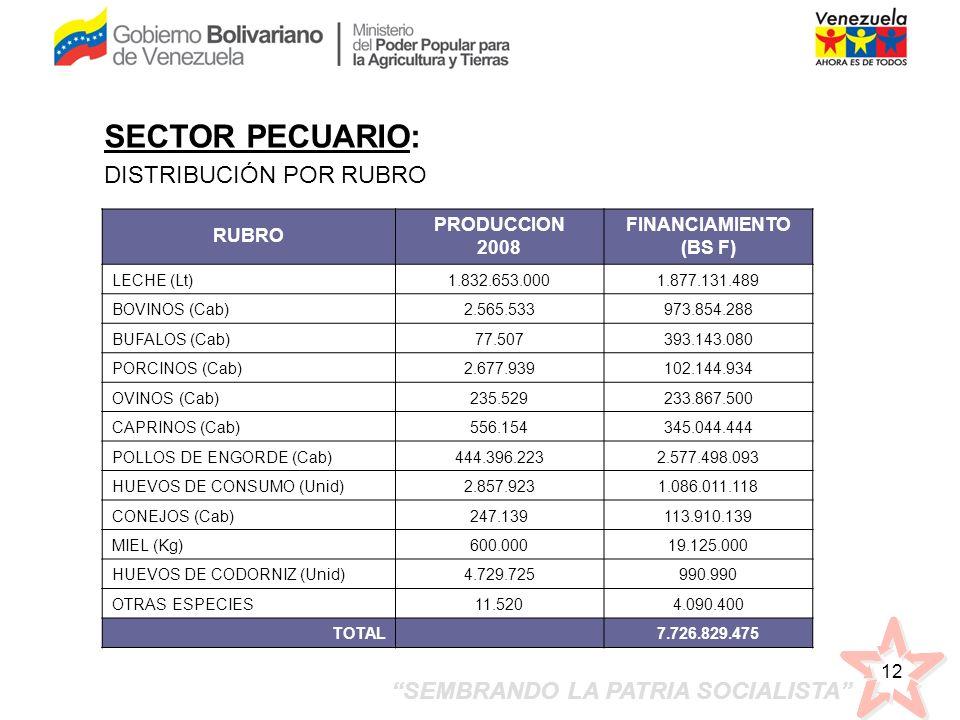 SEMBRANDO LA PATRIA SOCIALISTA 12 RUBRO PRODUCCION 2008 FINANCIAMIENTO (BS F) LECHE (Lt)1.832.653.0001.877.131.489 BOVINOS (Cab)2.565.533973.854.288 B
