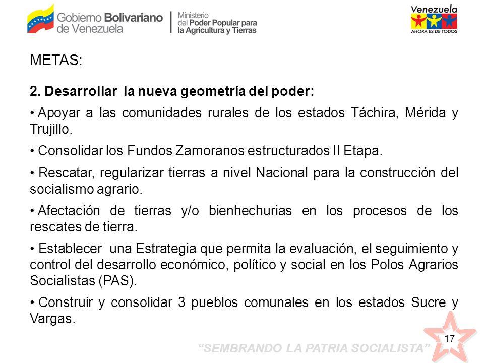 SEMBRANDO LA PATRIA SOCIALISTA 17 2. Desarrollar la nueva geometría del poder: Apoyar a las comunidades rurales de los estados Táchira, Mérida y Truji