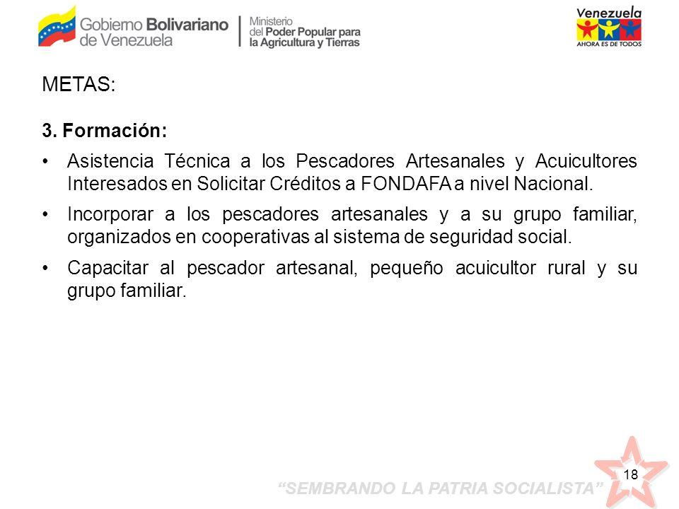 SEMBRANDO LA PATRIA SOCIALISTA 18 3. Formación: Asistencia Técnica a los Pescadores Artesanales y Acuicultores Interesados en Solicitar Créditos a FON